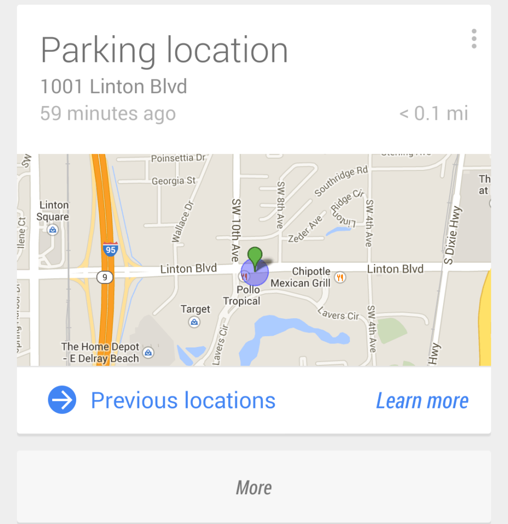google parking directions