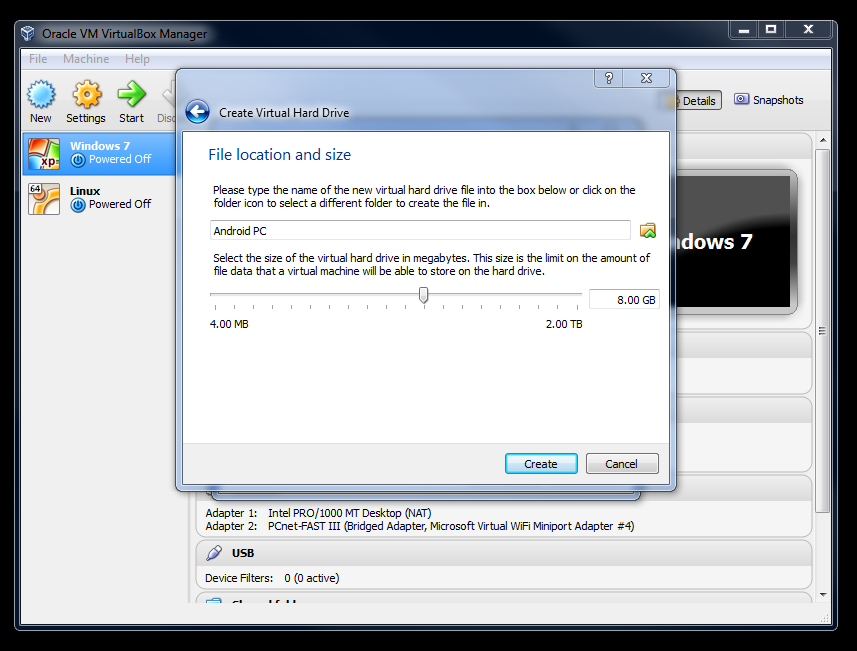 3.3 create virtual hard drive