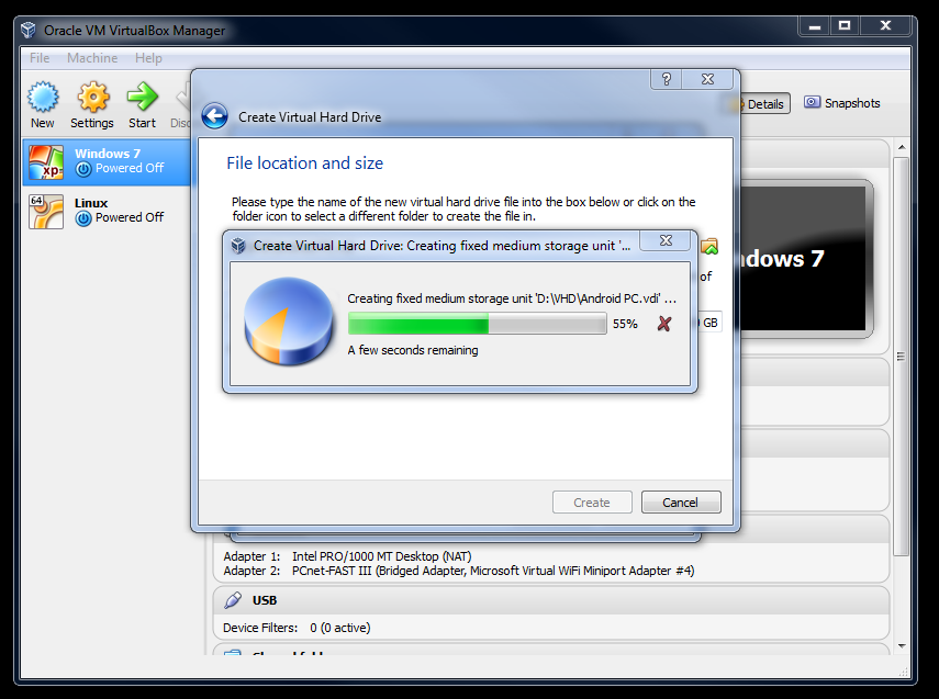 3.4 create virtual hard drive