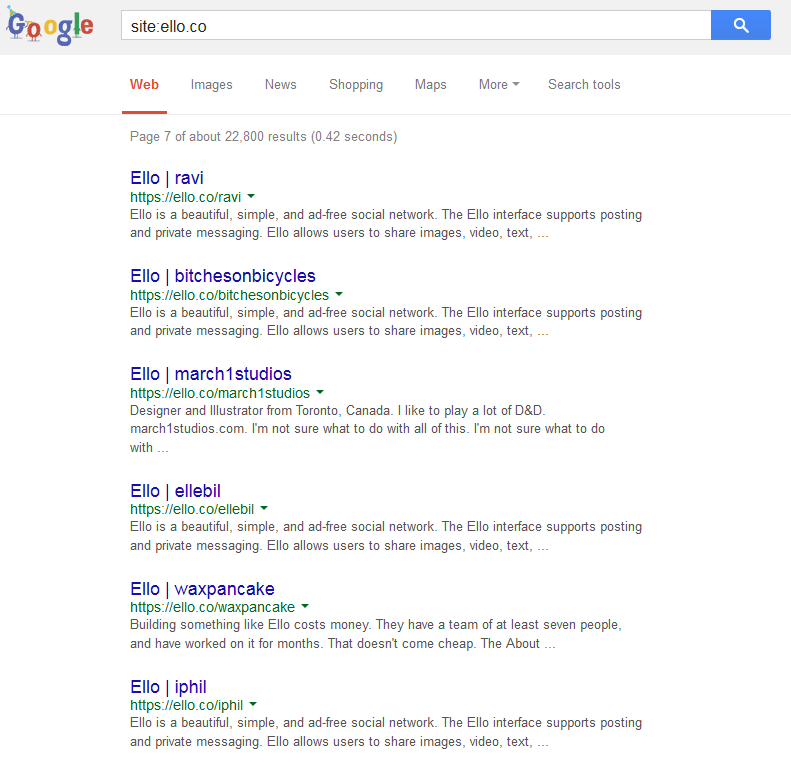 ello in search engine results