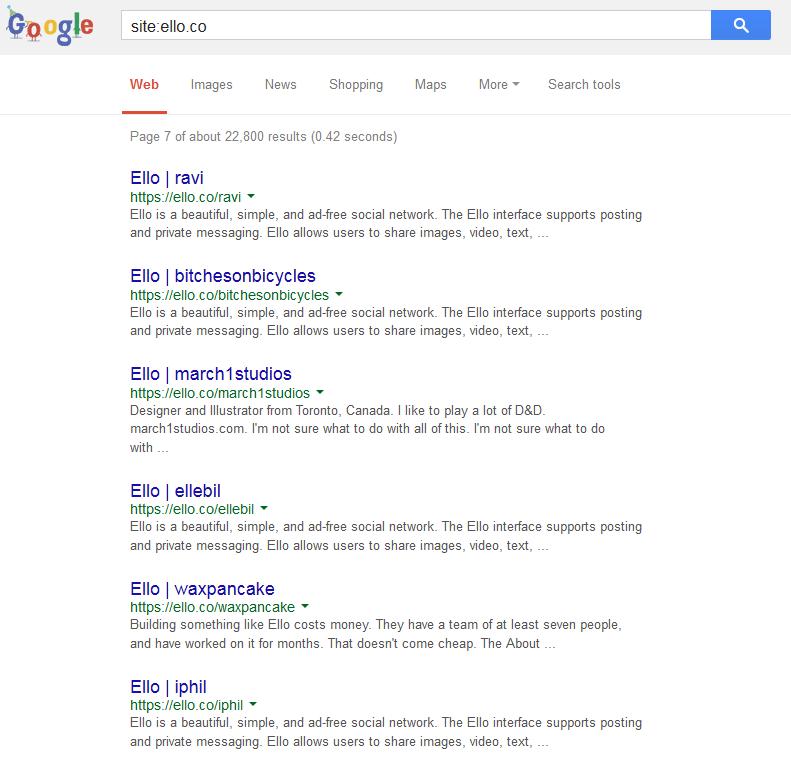 ello in search engine results