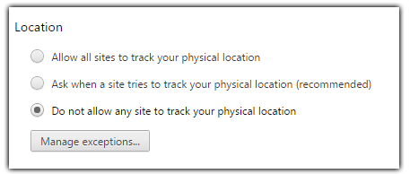 chrome location do not allow