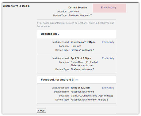 facebook log out of all devices