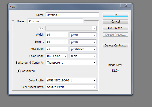favicon photoshop settings