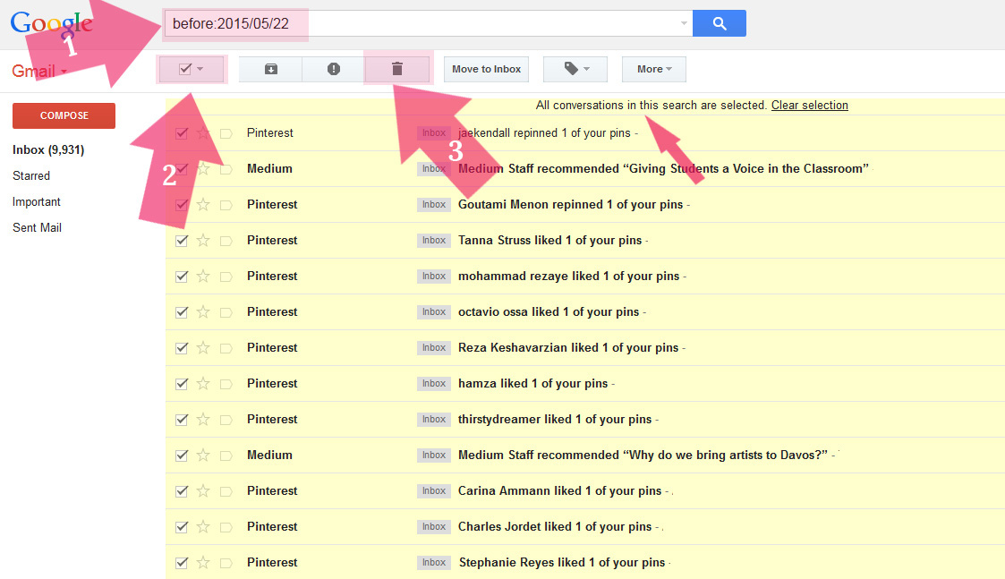 gmail delete all messages conversations