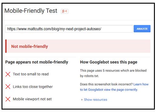 mobile friendly test fail