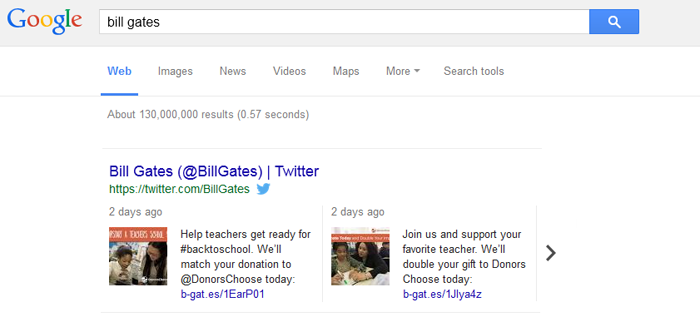 tweets indexed in search results