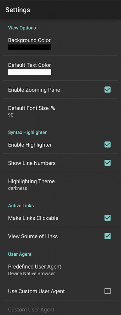 11 settings view source android