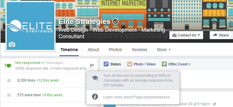 facebook responsive message