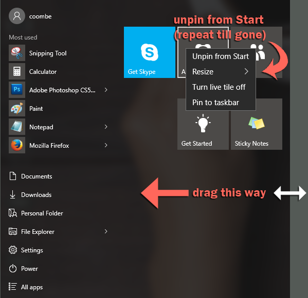 windows 10 start menu not really simple tiles