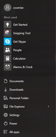 windows 10 start menu simple